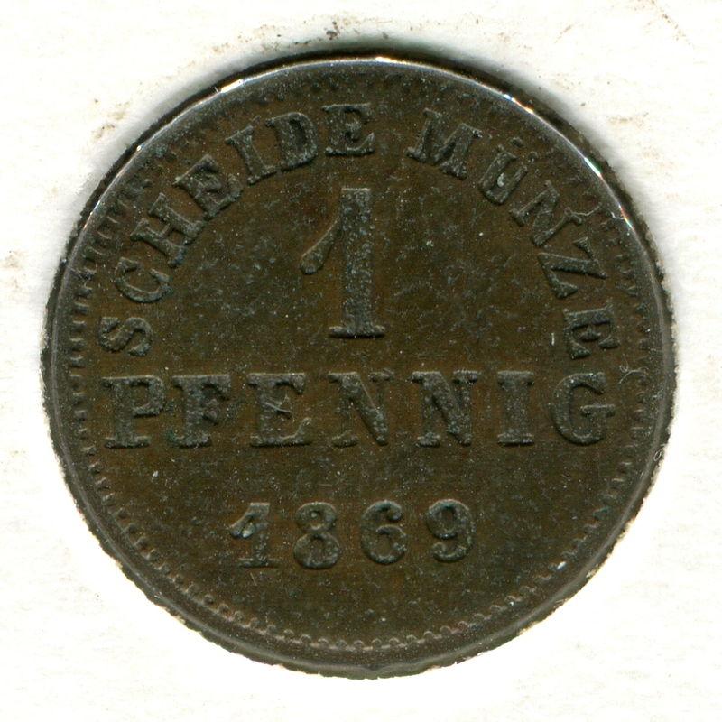 Германия Гессен-Дармштадт 1 пфенниг 1869 #337 - 1