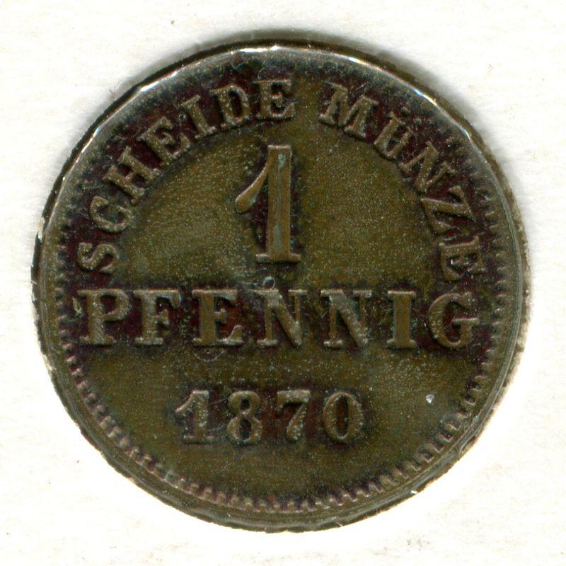Германия Гессен-Дармштадт 1 пфенниг 1870 #337 - 1