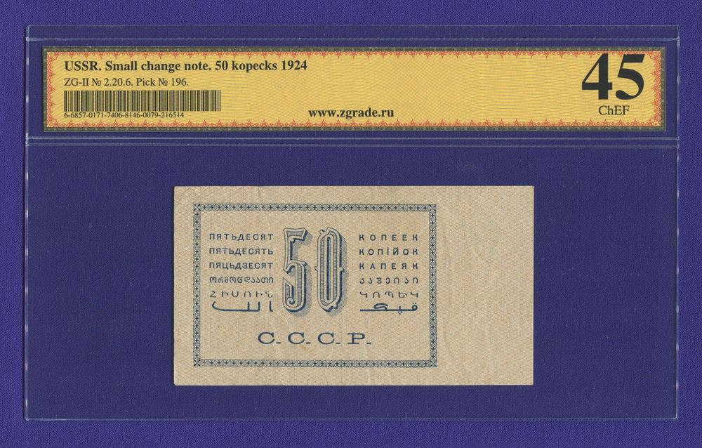 СССР 50 копеек 1924 года / Г. Я. Сокольников / М. Козлов / ChEF - 1
