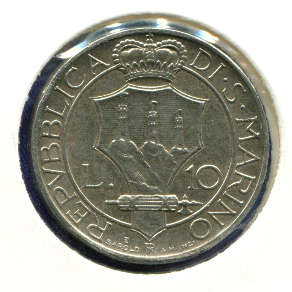 Сан-Марино 10 лир 1932 aUNC  - 1