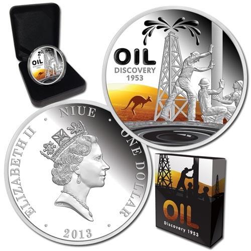 Ниуэ 1 доллар 2013 Proof Открытие нефти в Австралии  - 2