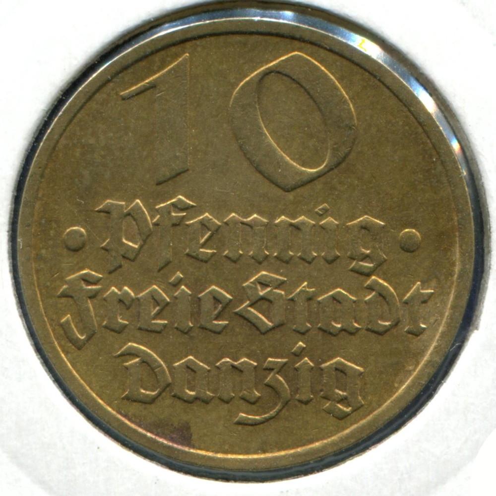 Польша/Гданьск 10 пфенингов 1932 XF - 1