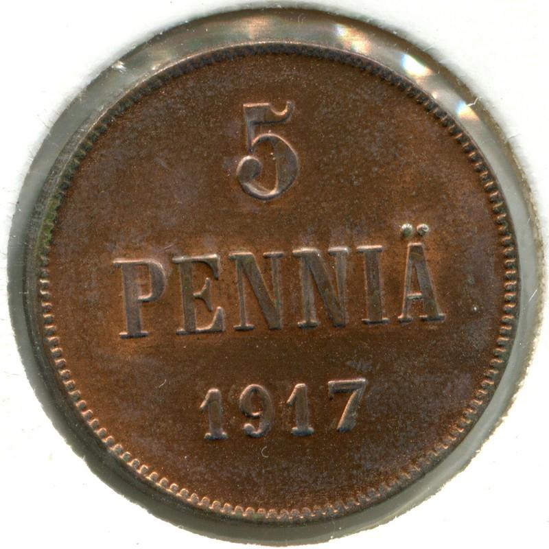Финляндия 5 пенни 1917 #17 BU - 1