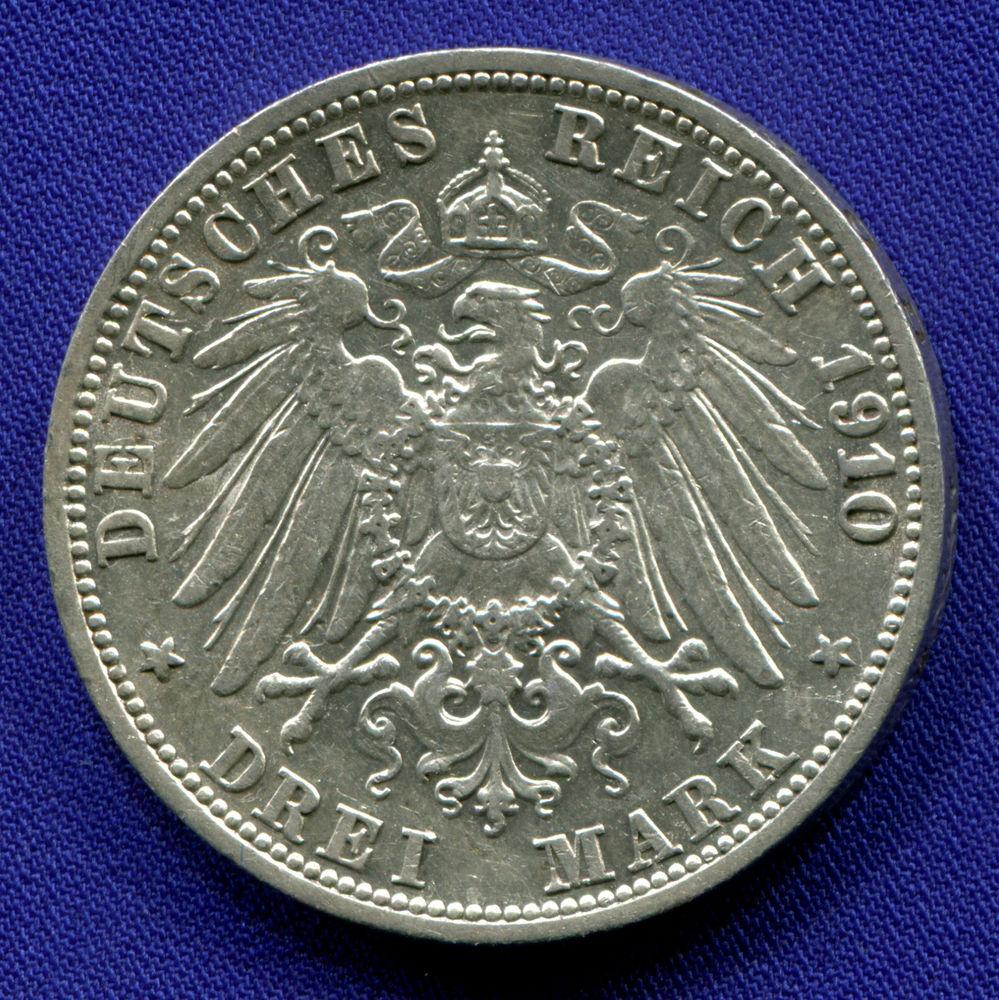 Германия/Баден 3 марки 1910 aUNC  - 1