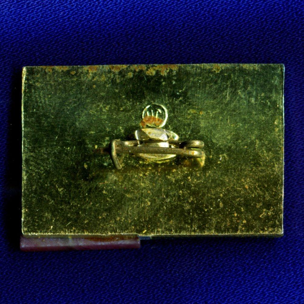 Значок «Уралгидромаш» Легкий металл Камень  Булавка - 1
