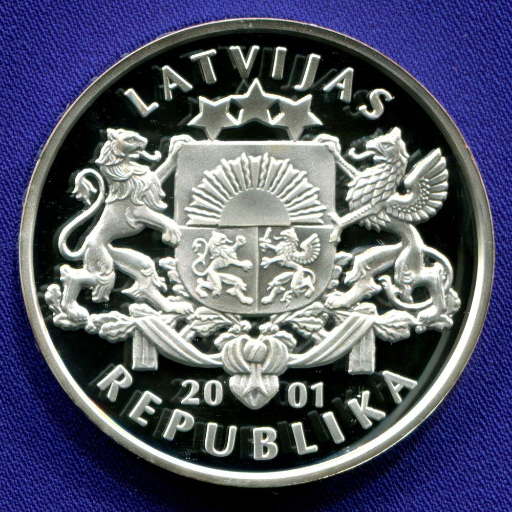 Латвия 1 лат 2001 Proof XIX зимние Олимпийские Игры, Солт-Лейк-Сити 2002 - Хоккей  - 1