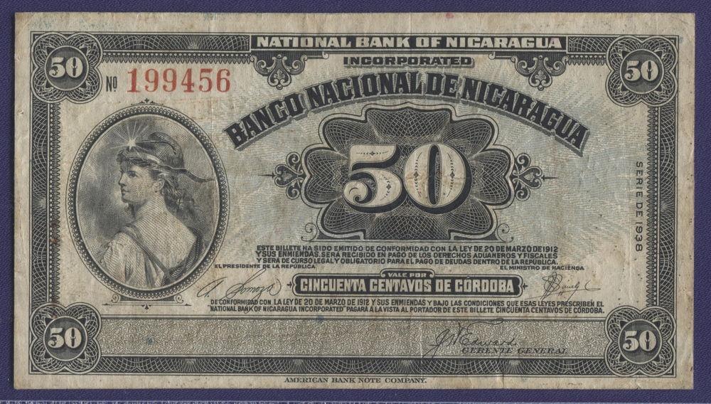 Никарагуа 50 сентво 1938 XF Pick 75 - 1