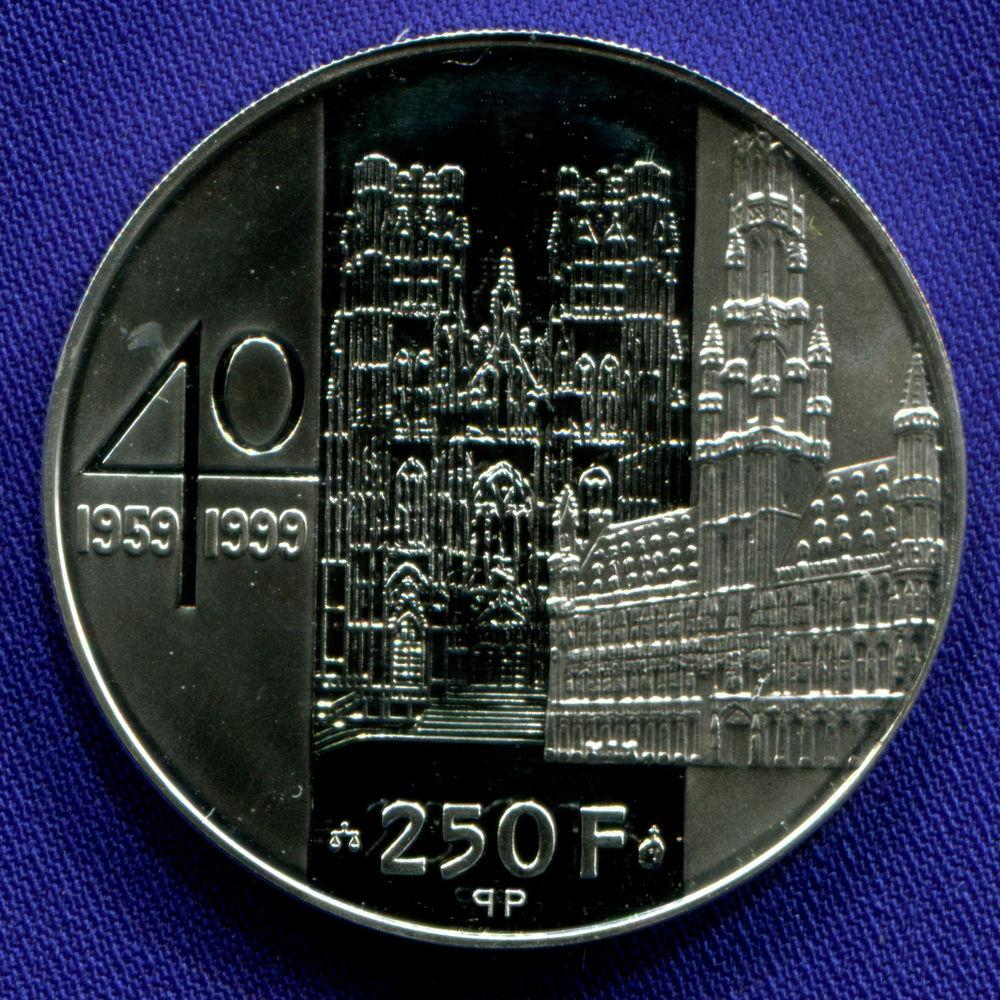 Бельгия 250 франков 1999 UNC 40 лет свадьбы Альберта и Паолы  - 1