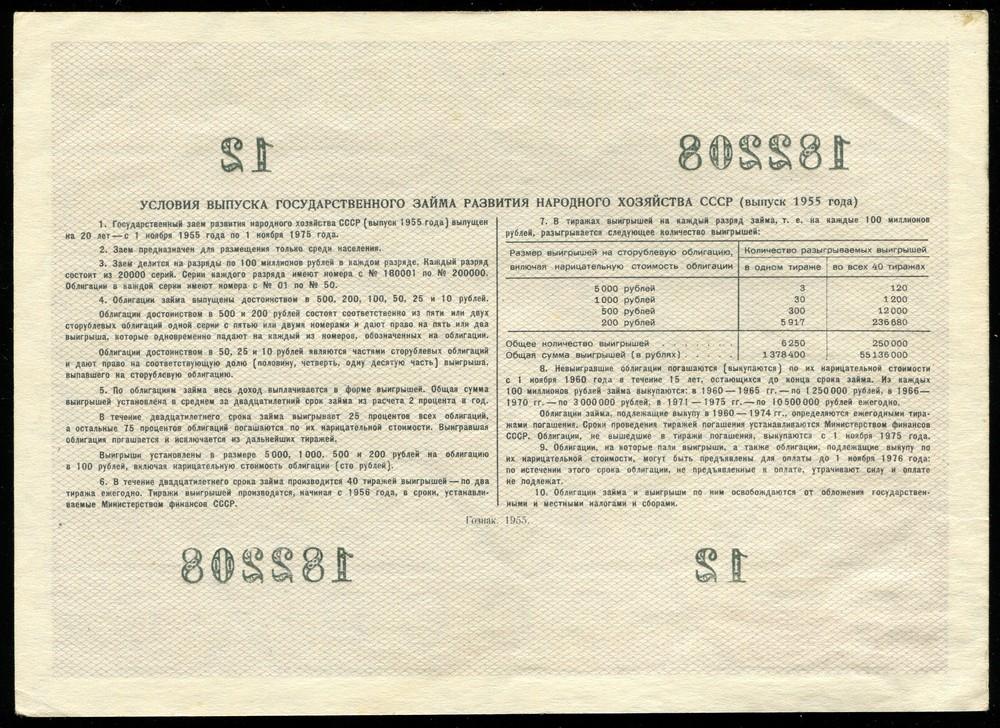 Заем развития народного хозяйства облигация 100 рублей 1955 aUNC - 1