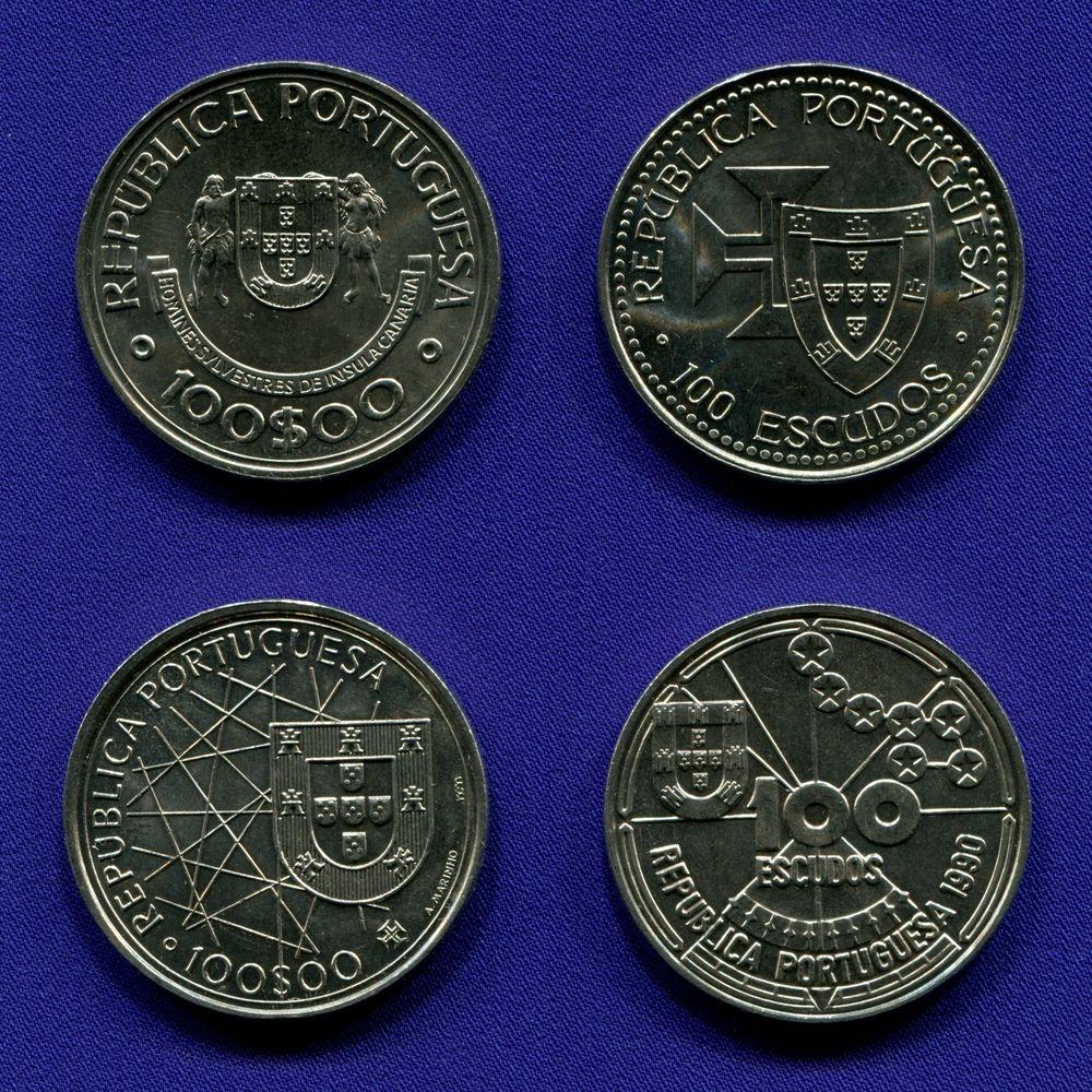 "Набор монет Португалии 100 эскудо 1989 - 1990 aUNC  II серия ""Открытия"" - 1"