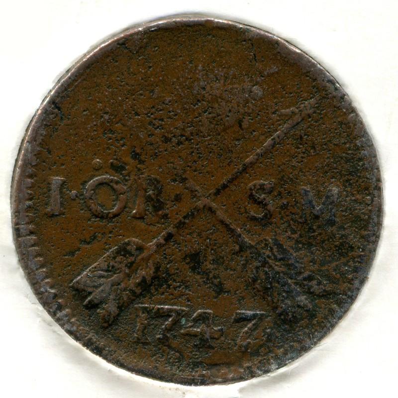 Швеция 1 эйре 1747 #416.1 VG - 1