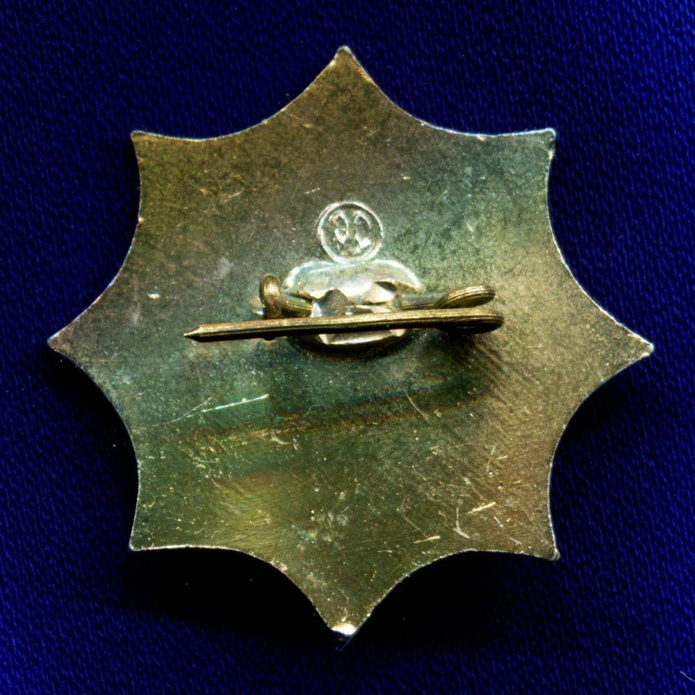 Значок «Спутник Бюро международного молодежного туризма Урал» Легкий металл Камень  Булавка - 1