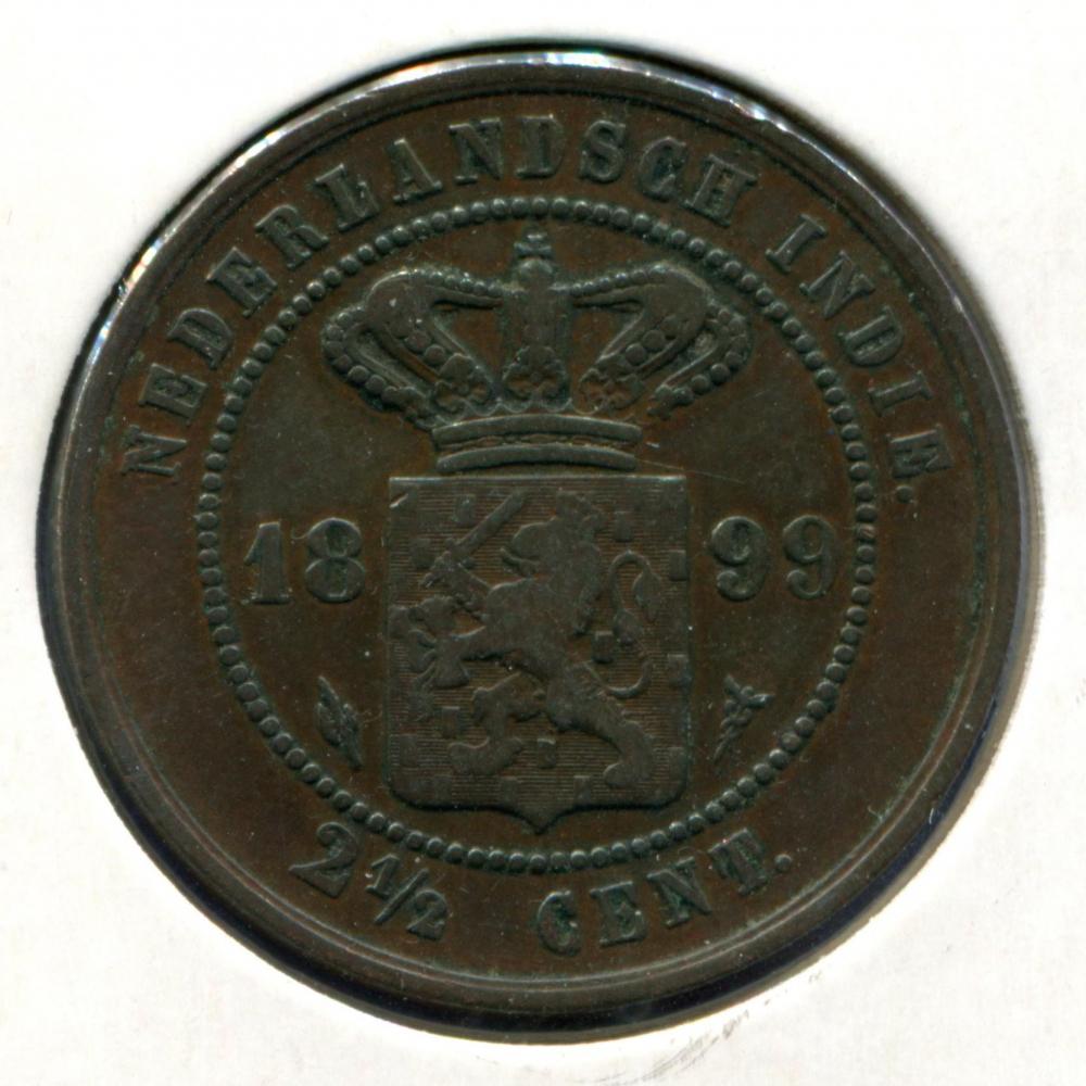 Нидерландская Индия 2 1/2 цента 1899 VF  - 1
