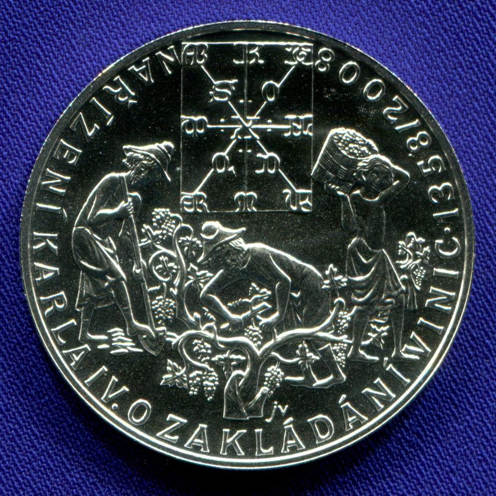 Чехия 200 крон 2008 UNC 650 лет указу Карла IV о создании виноградников - 1