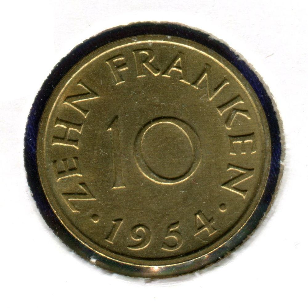 Германия/Саарлэнд 10 франков 1954 UNC #1 - 1