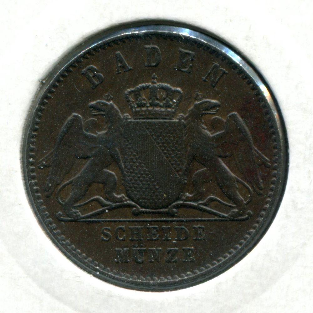 Германия/Баден 1 крейцер 1870 XF  - 1