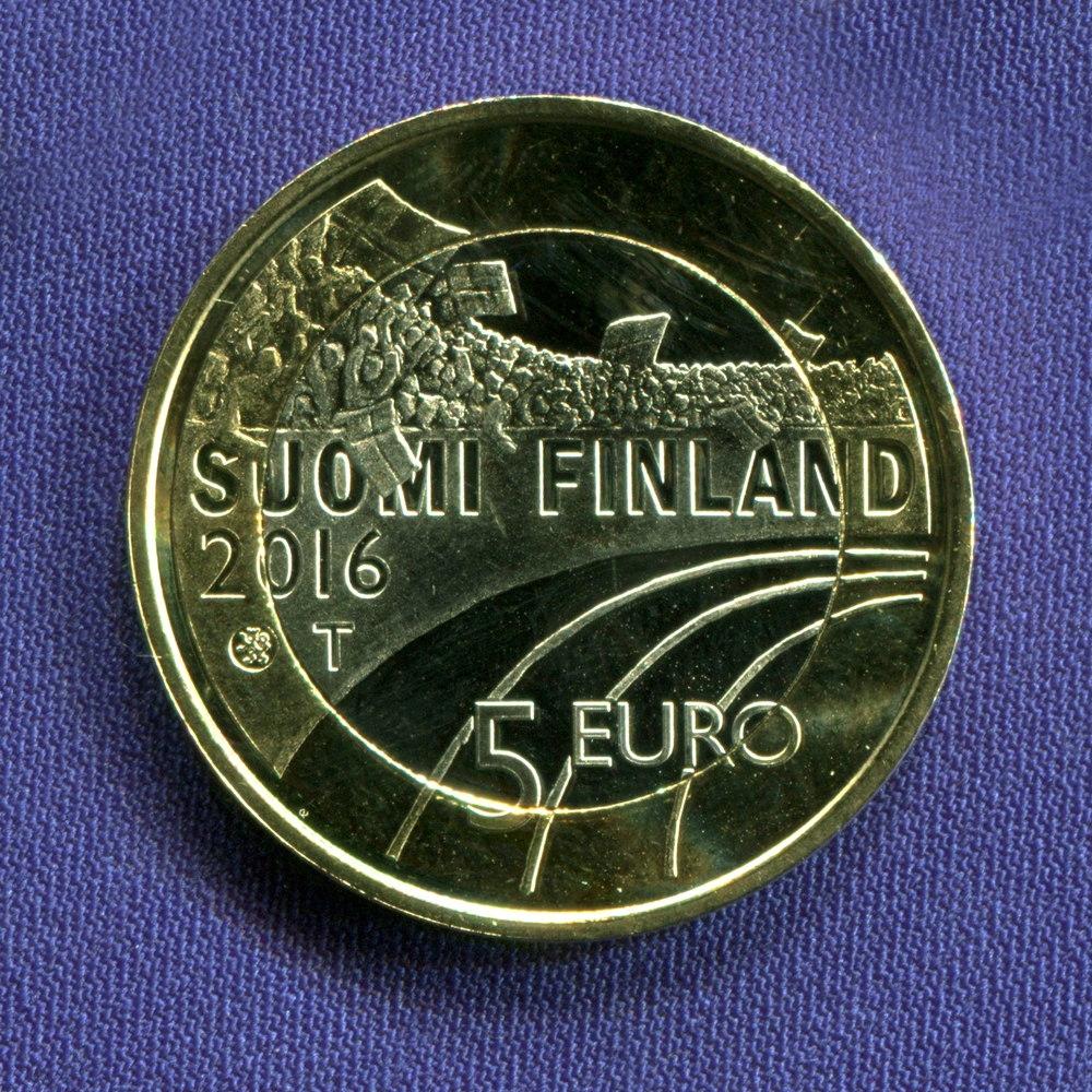 Финляндия 5 евро 2016 aUNC Прыжки с трамплина  - 1