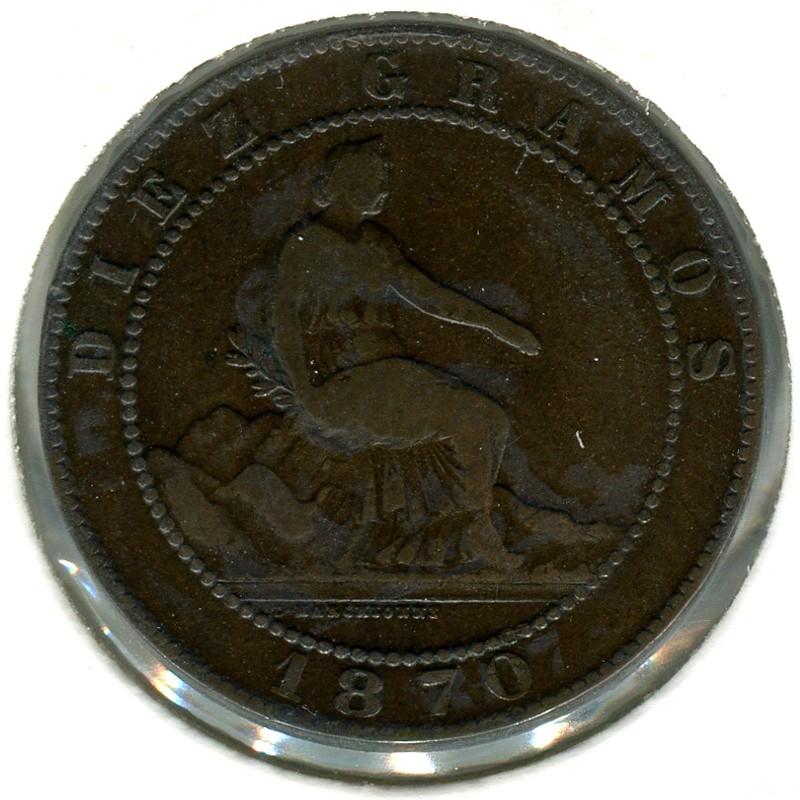 Испания 10 сантимов 1870 OM #663 VF - 1