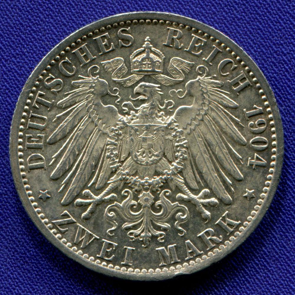 Германия/Гессе - Дармштад 2 марки 1904 aUNC 400 лет со дня рождения Филиппа I  - 1