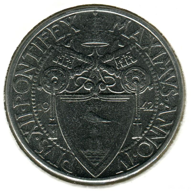 Ватикан Пий XII(1939-1958) 2 лиры 1942 #36 BU - 1