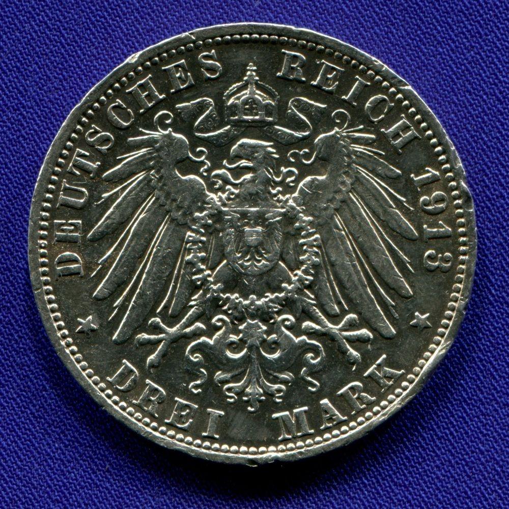 Германия/Саксония 3 марки 1913 VF  - 1