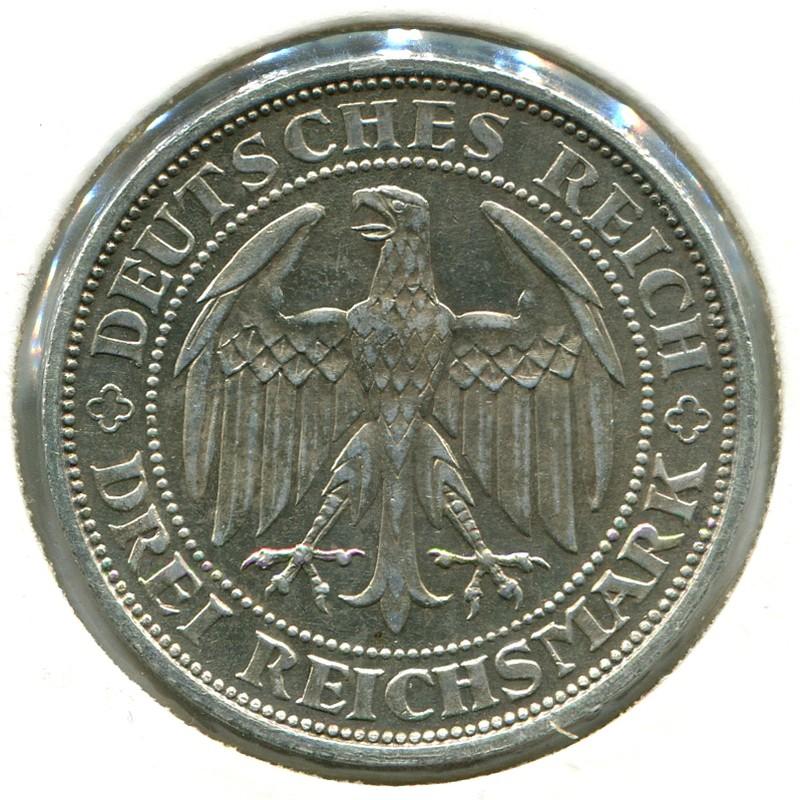 Веймарская республика 3 марки 1929 #65 aUNC - 1