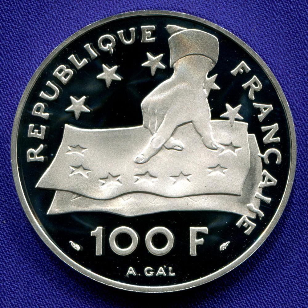 Франция 100 франков - 15 экю 1991 Proof 395 лет со дня рождения Декарта  - 1