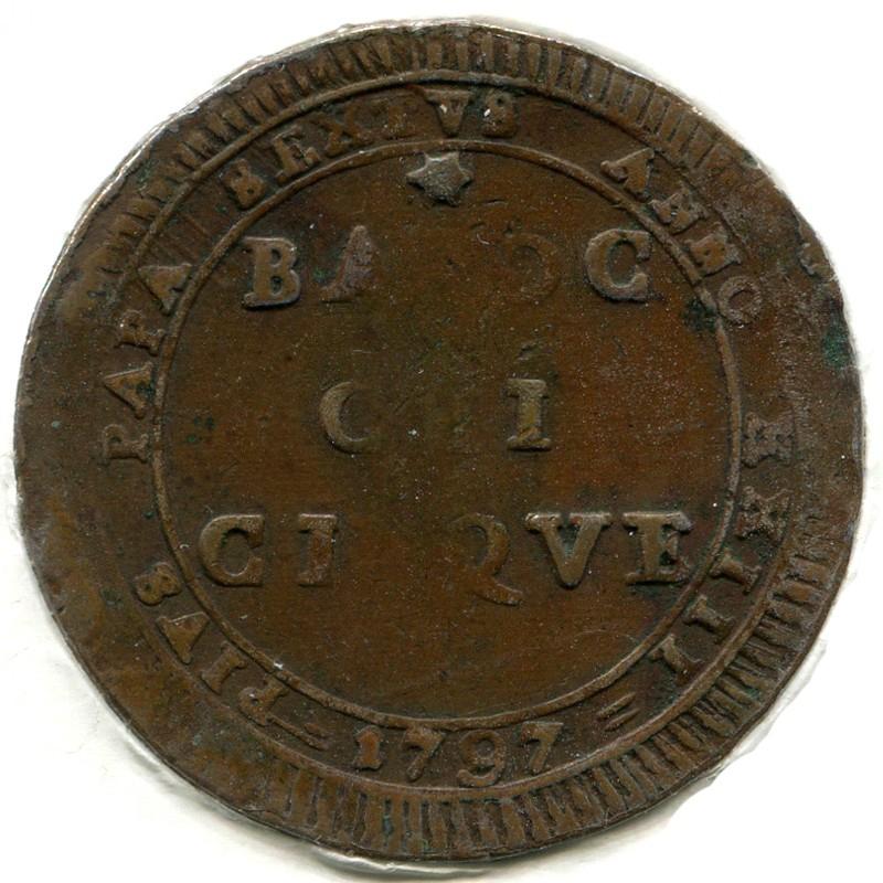 Папские земли 5 байокки 1797-XXIII #1245 VF - 1