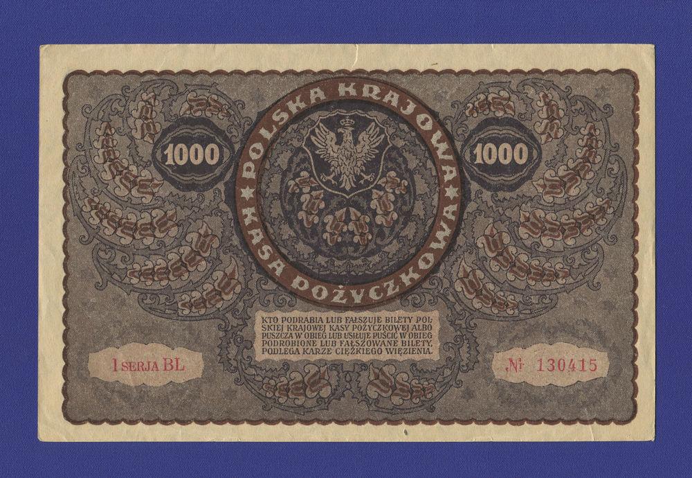 Польша 1000 марок 1919 XF - 1