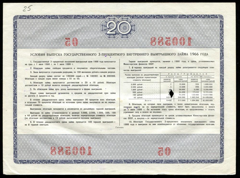 3% внутренний заем облигация 20 рублей 1966 XF - 1