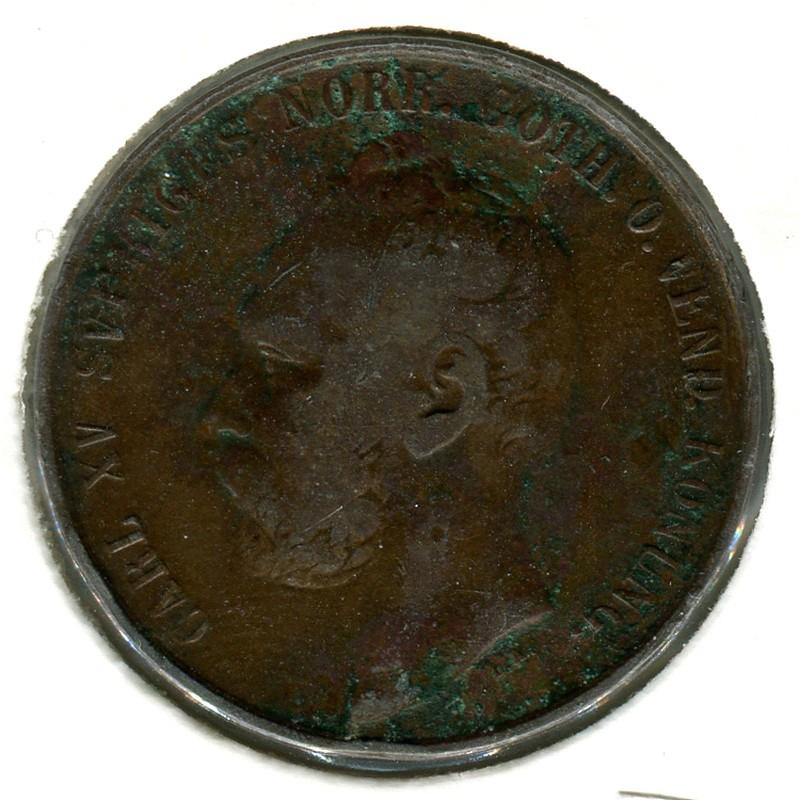 Швеция 5 эйре 1872 #707 F - 1
